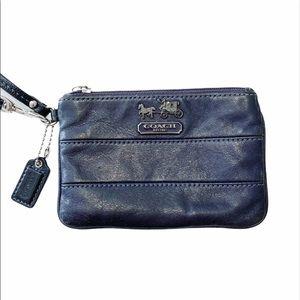 Coach Navy Blue Leather Wristlet